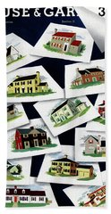 House & Garden Cover Illustration Of Various Homes Beach Towel