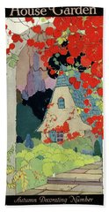 House And Garden Autumn Decorating Number Beach Towel