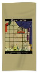 House And Garden Christmas House Number Cover Beach Towel