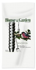 House And Garden Cover Featuring Pots And A Bird Beach Towel