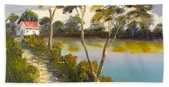 House By The Lake Beach Towel by Pamela  Meredith