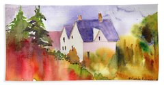 House In The Country Beach Towel by Yolanda Koh