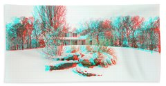 House On The Hill - Use Red/cyan Filtered 3d Glasses Beach Towel