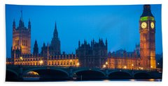 Houses Of Parliament Beach Towel by Inge Johnsson