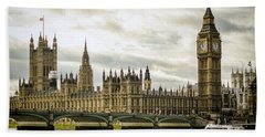 Houses Of Parliament On The Thames Beach Towel by Heather Applegate