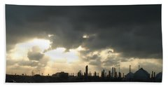 Beach Towel featuring the photograph Houston Refinery At Dusk by Connie Fox