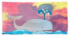 How Whales Have Fun Beach Sheet by Shawna Rowe