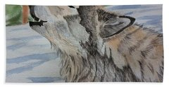 Howling Wolf In Winter Beach Towel