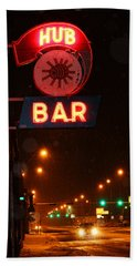 Hub Bar Snowy Night Beach Towel