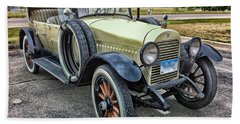 Beach Towel featuring the photograph hudson 1921 phaeton car HDR by Paul Fearn