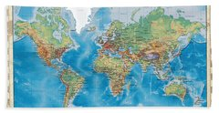 Huge Hi Res Mercator Projection Physical And Political Relief World Map Beach Towel
