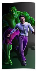 Beach Towel featuring the painting Hulk - Bruce Alter Ego by Anthony Mwangi