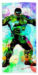 Hulk Watercolor Beach Towel by Daniel Janda