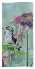 Hummingbird And Coneflowers Beach Towel