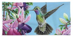 Hummingbird And Fuchsias Beach Towel by Jane Girardot