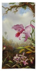 Hummingbird And Two Types Of Orchids Beach Towel by Martin Johnson Heade