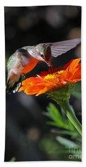 Hummingbird And Zinnia Beach Sheet