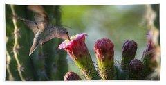 Hummingbird Breakfast Southwest Style  Beach Towel
