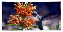 Beach Towel featuring the photograph Hummingbird Delight by AJ  Schibig