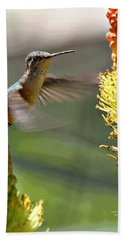 Hummingbird Feeding Beach Towel