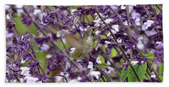 Hummingbird Flowers Beach Towel