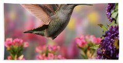 Hummingbird In Colorful Garden Beach Towel
