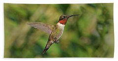 Hummingbird In Flight Beach Sheet
