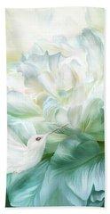 Beach Sheet featuring the mixed media Hummingbird Kiss by Carol Cavalaris