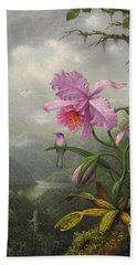 Hummingbird Perched On The Orchid Plant Beach Sheet by Martin Johnson Heade
