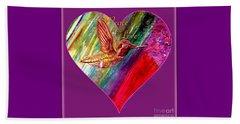 Hummingbird Spreads Peace And Love Beach Sheet by Kimberlee Baxter
