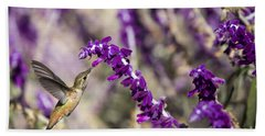 Beach Towel featuring the photograph Hummingbird Collecting Nectar by David Millenheft