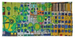 Hundertwasser The Three Skins In 3d By J.j.b. Beach Sheet