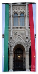 Hungary Flag Hanging At Parliament Budapest Beach Towel