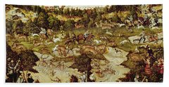 Hunt In Honour Of The Emperor Charles V Near Hartenfels Castle, Torgau, 1544 Oil On Panel See Beach Towel