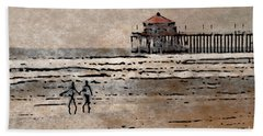 Huntington Beach Surfers Beach Towel by Andrea Auletta