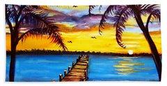 Beach Towel featuring the painting Hurry Sundown by Ecinja Art Works