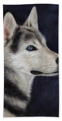 Husky Portrait Painting Beach Towel