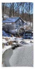 Hyde's  Mill In The Winter Beach Sheet by Janice Adomeit