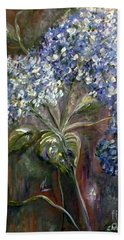 Beach Towel featuring the painting Hydrangea Bouquet At Dawn by Eloise Schneider