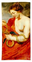 Hygeia - Goddess Of Health Beach Towel by Pg Reproductions