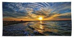 Hypnotic Sunset At Israel Beach Sheet by Ron Shoshani