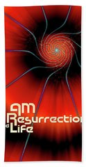 I Am Resurrection And Life Beach Sheet by Chuck Mountain