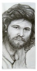Beach Sheet featuring the drawing Barry Gibb by Patrice Torrillo