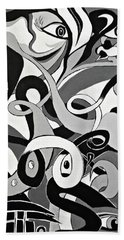 I Seek U - Abstract Eye Paintings, Black And White Eye Art - Ai P. Nilson Beach Towel