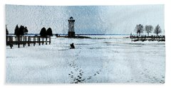 Ice Fishing Solitude 1 Beach Towel