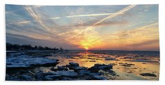 Ice On The Delaware River Beach Towel by Ed Sweeney