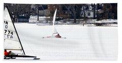 Ice Yacht Race Beach Towel
