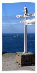 Beach Towel featuring the photograph Iconic Lands End England by Terri Waters