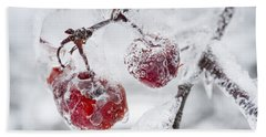 Icy Branch With Crab Apples Beach Towel