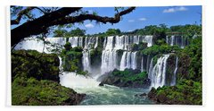 Iguazu Falls In Argentina Beach Sheet by Joan  Minchak